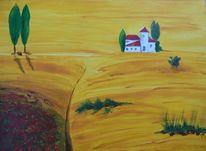 Haus, Baum, Toskana, Landschaft