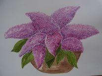 Flieder, Stillleben, Aquarellmalerei, Lila