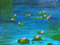 Teich, Weide, Seerosen, Malerei