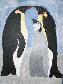 Familie, Tiere, Acrylmalerei, Pinguin