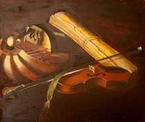 Geige, Musik, Noten, Malerei
