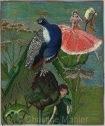 Pflanzen, Libelle, Artischocke, Pfau