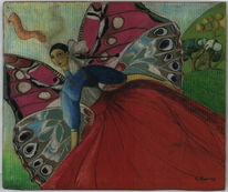 Frau, Schmetterling, Flügel, Malerei