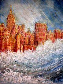 Acryl mischtechnik, Malerei, Skylines