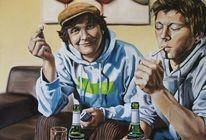 Mann, Portrait, Gemälde, Rauchen