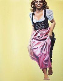Laufen, Frau, Ölmalerei, Dirndl