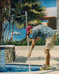 Mann, Sommer, Palmen, Wasser