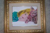 Katze, Mädchen, Malerei