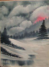 Wintertag, Grau, Malerei