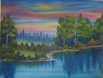 Sommer, Reflexion, Sonnenaufgang, Malerei