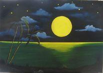 Vollmondnacht, Abendglanz, Wasser, Malerei