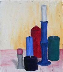 Kerzen, Mischtechnik, Malerei, Stillleben