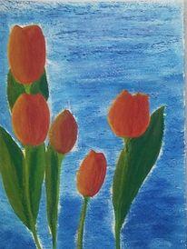 Mischtechnik, Malerei, Stillleben, Tulpen