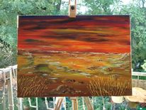 Sonnenuntergang, Gelb, Rot, Acrylmalerei