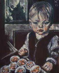 Kind, Küche, Fenster, Kinderkopf