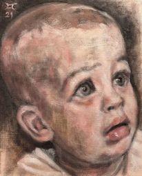Baby, Frage, Blick, Malerei