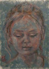 Frau, Blick, Rot, Malerei