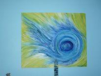 Malerei, Feuer, Blau