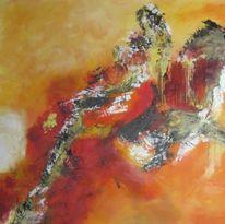 Mischtechnik, Farbenkomposition, Expressionismus, Reiter