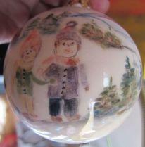 Hand in hand, Keramikkugel, Zeller adventzaubermarkt, Paar