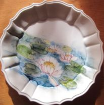 Keramik handbemalt, Lotosblume, Seerosen, Teller