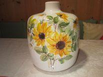Sonnenblumen vase unikat, Keramikmalerei, Kunsthandwerk