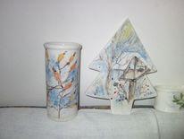 Vase tannenbäumchen, Keramikmalerei, Winter, Malen