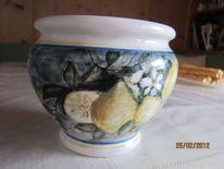 Blumentopf, Blüte, Malen, Keramik