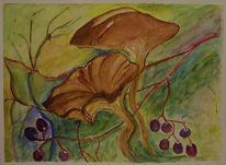 Obst, Pilze, Herbst, Malerei