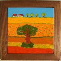 Feld, Freiheit, Baum, Farben