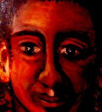 Portrait, Augen, Mann, Schwarz