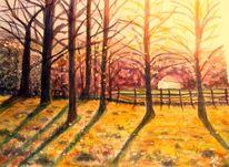 Sonne, Gegenlicht, Landschaft, Aquarellmalerei