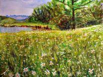 Gras, See, Landschaft, Grün