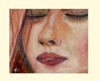 Gesicht, Portrait, Aquarellmalerei, Zart