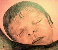 Früh, Baby, Zeichnung, Mädchen