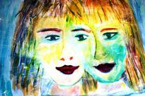 Zusammenwachsen, Zusammen wachsen, Aquarell digitalisiert, Gesichter