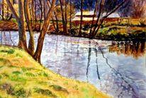 Fluss, Nach dowden, Fließen, Aquarellmalerei