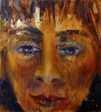 Portrait, Farben, Blattgold, Ausdruck