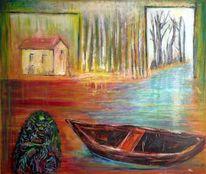 Boot, Spachteltechnik, Haus, Wasser