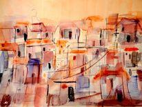 Abstrakt, Warm, Stadt, Mediterran