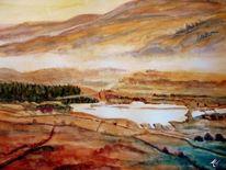Wald, Aquarellmalerei, Berge, Landschaft