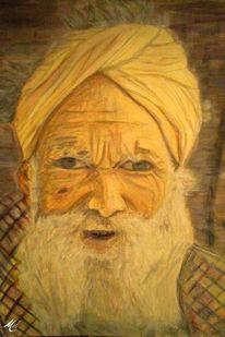 Bart, Grau, Aquarellmalerei, Nepalese