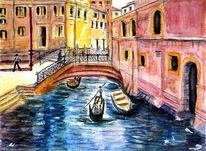 Wasser, Gondel, Häuser, Brücke
