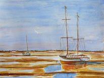 Schiff, Sommer, Wasser, Aquarellmalerei