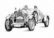 Auto, Rennwagen, Zeichnungen, Retro