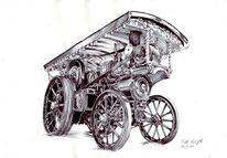 Dampfmachine, Traktor, Zeichnungen