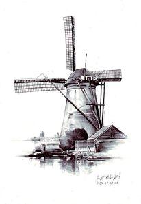 Landschaft, Windmühle, Zeichnung, Grafik
