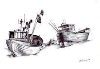 Fischerboot, Boot, Zeichnungen