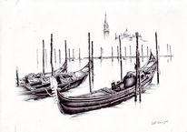 Hafen, Boot, Stadt, Zeichnungen