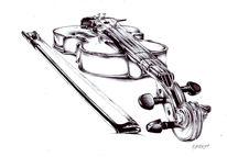 Geige, Violine, Zeichnungen, Stillleben